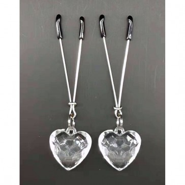 Nipple Play Non-Piercing Nipple Clips Clear Heart